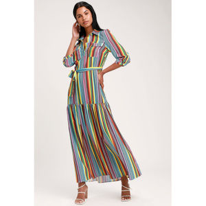 NWT Lulu's Colorful Striped Maxi Dress